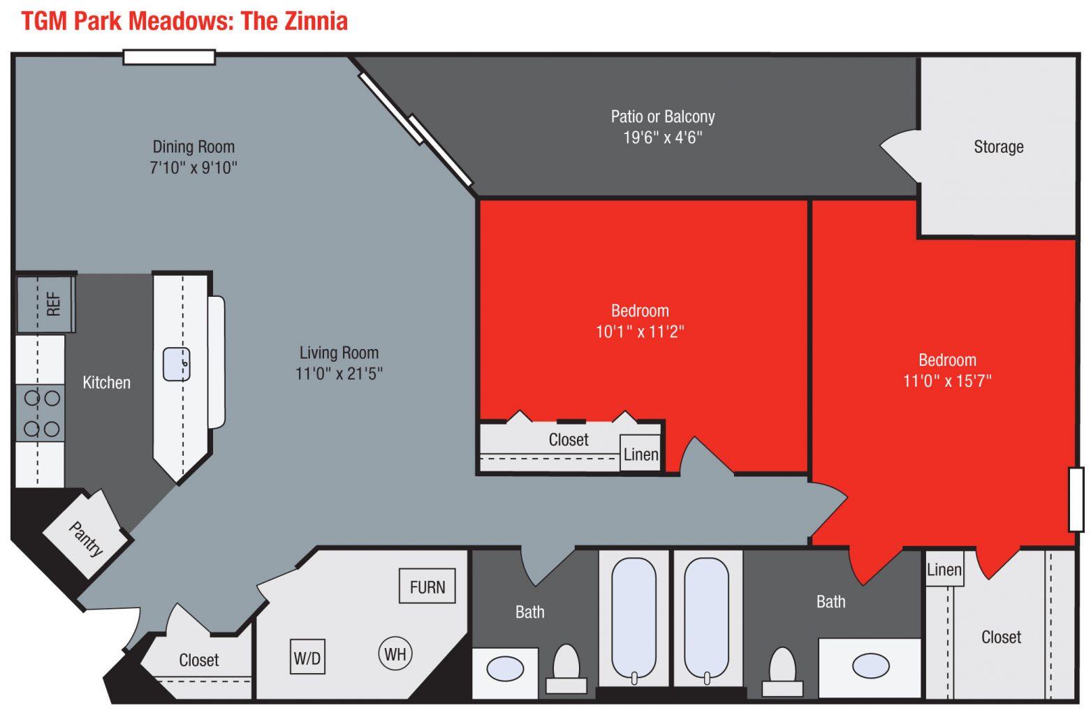 Apartments For Rent TGM Park Meadows - Zinnia